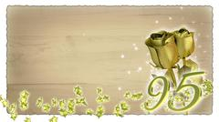 birthday concept with golden roses and star particles - 95th - stock illustration