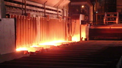 Hot slab extracting from Furnace, Background of  industry steel. Stock Footage