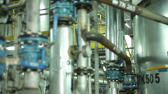 The System Pipe With Valves in Manufacturing Stock Footage