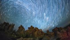 Mono Lake Night Timelapse with Polaris Star Trails Stock Footage