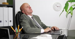 Financial Manager Hard Work Day Late Hour Dreaming Falling Asleep Office Tired Stock Footage