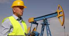 Oil Pump Engineer Man Supervise Extracting Field Visual Check Petroleum Industry Stock Footage