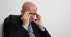 Businessman Sick Man Tired Headache Pain Office Depressed Tired Serious Problems - stock footage