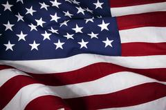Closeup of ruffled American flag Stock Photos