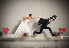 Stage a failed marriage Stock Photos