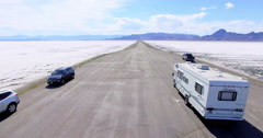 Driving motorhome on Bonneville Salt Flats, Utah. - stock footage