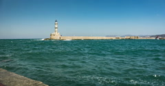 Lighthouse of Chania Crete Greece Stock Footage