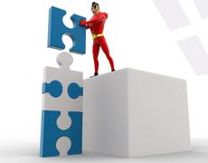 Stock Illustration of 3d superhero making tall construction from puzzle pieces concept