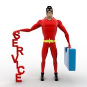 3d superhero ready for service with bag concept - stock illustration