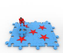3d superhero with red star and blue jigsaw puzzle concept - stock illustration