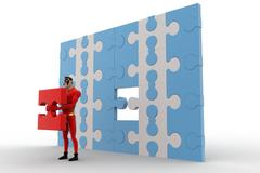 3d superhero holding golden piece of puzzle from big puzzle wall concept Stock Illustration