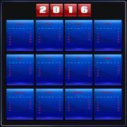 Stock Illustration of Calendar 2016 vector Sunday first 12 months, blue on black