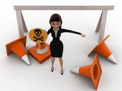 Stock Illustration of 3d woman holding danger symbol board and with traffic cones concept