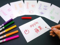 Making Language Flash Cards; Mandalin Stock Photos