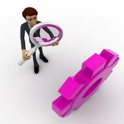 3d man searching for right gear from many gears concept - stock illustration