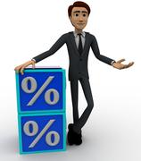 3d man with blue discount cubes concept - stock illustration