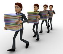 3d men taking files in queue concept - stock illustration