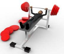 Stock Illustration of 3d man doing weight lifting exercise in gym concept