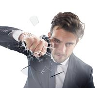 Fist of determinated businessman - stock photo