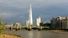 View to the Shard, River Thames and Southwark Bridge in London, United Kingdom - stock footage