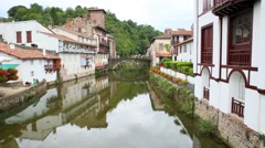View of Saint-Jean-Pied-de-Port and the Nive River Stock Footage
