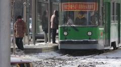 Chinese tram, Jilin Province, China, winter Stock Footage