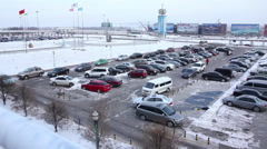 Changchun Airport, parked cars in snow Stock Footage