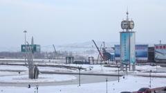 Changchun Airport, clock tower, snow Stock Footage