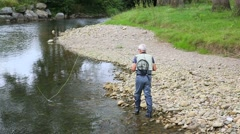 Fly-fisherman fishing in river on summer season Stock Footage