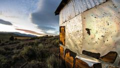 Sunset Sunrise Abandoned Ghost Town Steel Shed Stock Footage