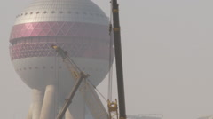Oriental Pearl Tower, construction, China - stock footage