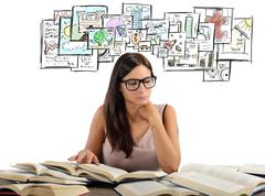 Girl studying academic subjects - stock photo