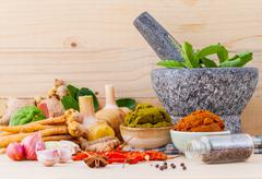 Stock Photo of Assortment of Thai food Cooking ingredients and Paste of thai popular food re