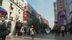 Crowds Nanjing Lu shopping street, Shanghai Stock Footage