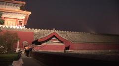 Forbidden City, Donghuamen, Beijing, night Stock Footage