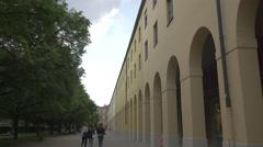 Girls walking near the German Theater Museum, Munich - stock footage