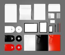 Branding identity design mockup template, dark grey background Stock Photos