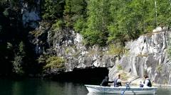 Study of the cave. Karelia, Ruskeala. Stock Footage