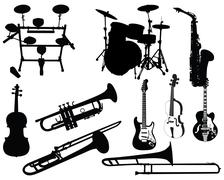 set of musical instruments - stock illustration