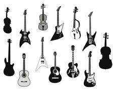 Guitars silhouettes - stock illustration