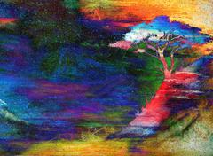Night sky with trees. color effect collage Stock Illustration