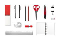 Stationery, office supplies mockup template, white background - stock photo