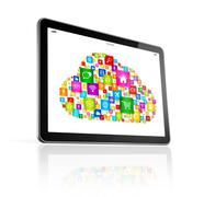 Cloud computing symbol on Digital Tablet pc - stock illustration
