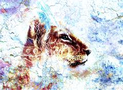 Little lion cub head. animal painting, abstract color background with ornaments - stock illustration
