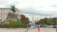 KIEV CITY,UKRAINE – 07 September 2015:  Sofiyevskaya Square with  monument  Stock Footage