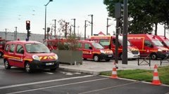Fire Trucks Parked In Line - 1080p Stock Footage