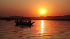 Boat with tourists on Irrawaddy river, Bagan Stock Footage