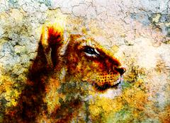 Little lion cub head. animal painting on vintage paper, abstract color Stock Illustration