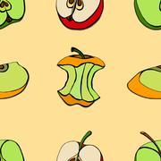 Seamless of apples Stock Illustration
