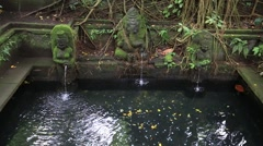 Water spring hindu temple at sacred monkey forest. Ubud, Bali, Indonesia - stock footage